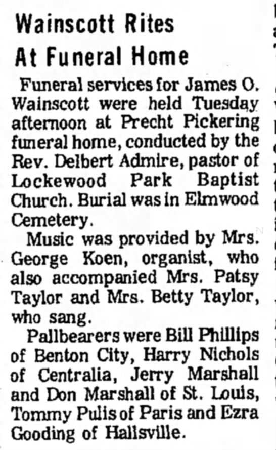 James O. Wainscott Funeral Notice - Wainscott Rites At Funeral Home Funeral...