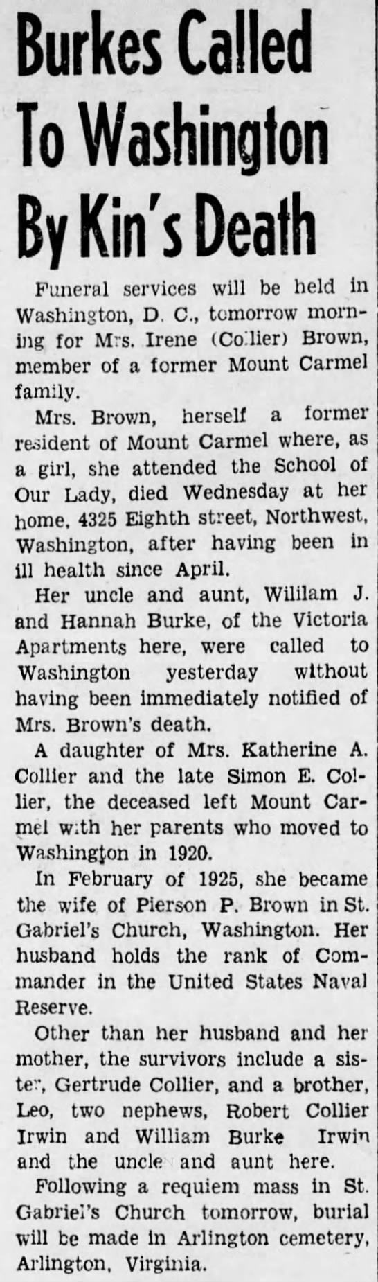 Irene Brown Obit Oct 29 1943, p.3 - Burkes Called To Washington By Kin's Death...