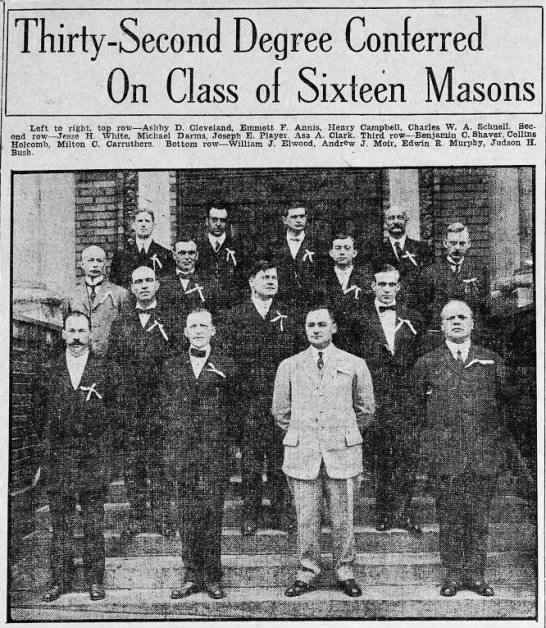 Salt Lake Tribune, 27 Apr 1912 Collins Holcomb - Thirty-Second Degree Conferred On Class ol...