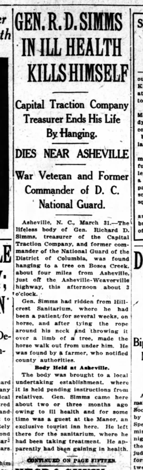 Obituary for General Richard D. Simms, Washington Herald, April 1, 1920 - and to fim GERGEShfI R MILIEALTh KLlIISELF...