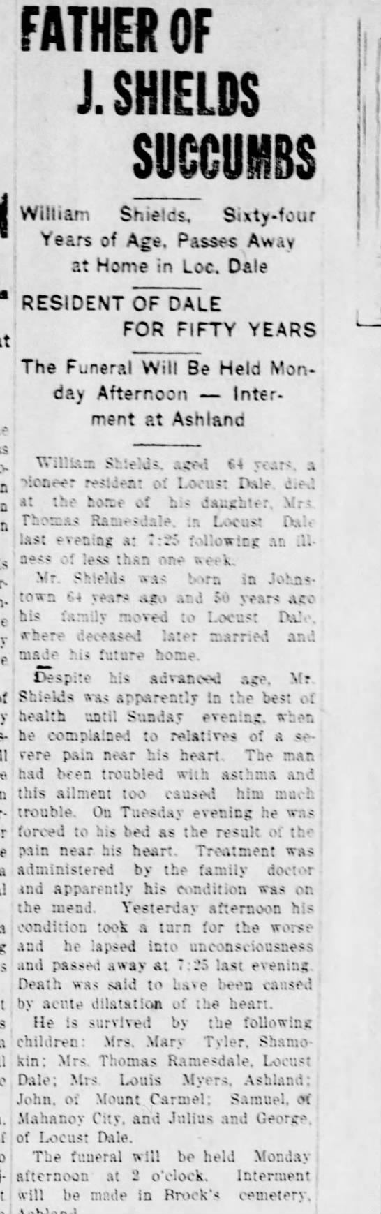 20 Nov 1925 The Daily News of Mount Carmel, PA - FATHER OF J. SHIELDS SUCCUMBS William Shields,...