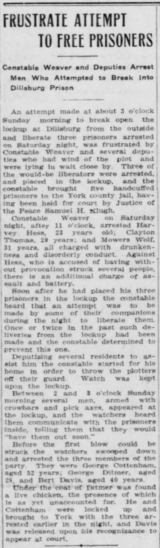 Attempted escape from Dillsburg lockup - Rut-'the j ' 31 years, all charged with...