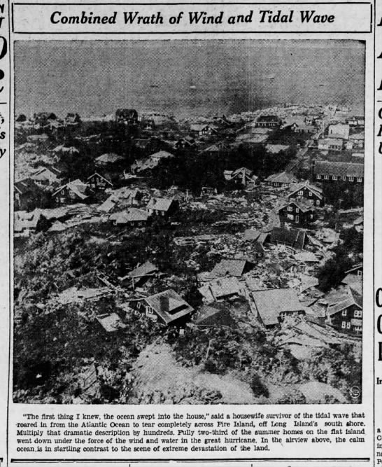 Damage to Fire Island from 1938 hurricane