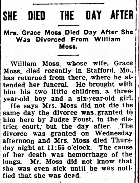 Died The Day After - Grace Moss - The Iola Register 24 Feb 1906 Page 3 - SHE DIED JHE_ DAY AFTER Mrs. Grace Moss Died...