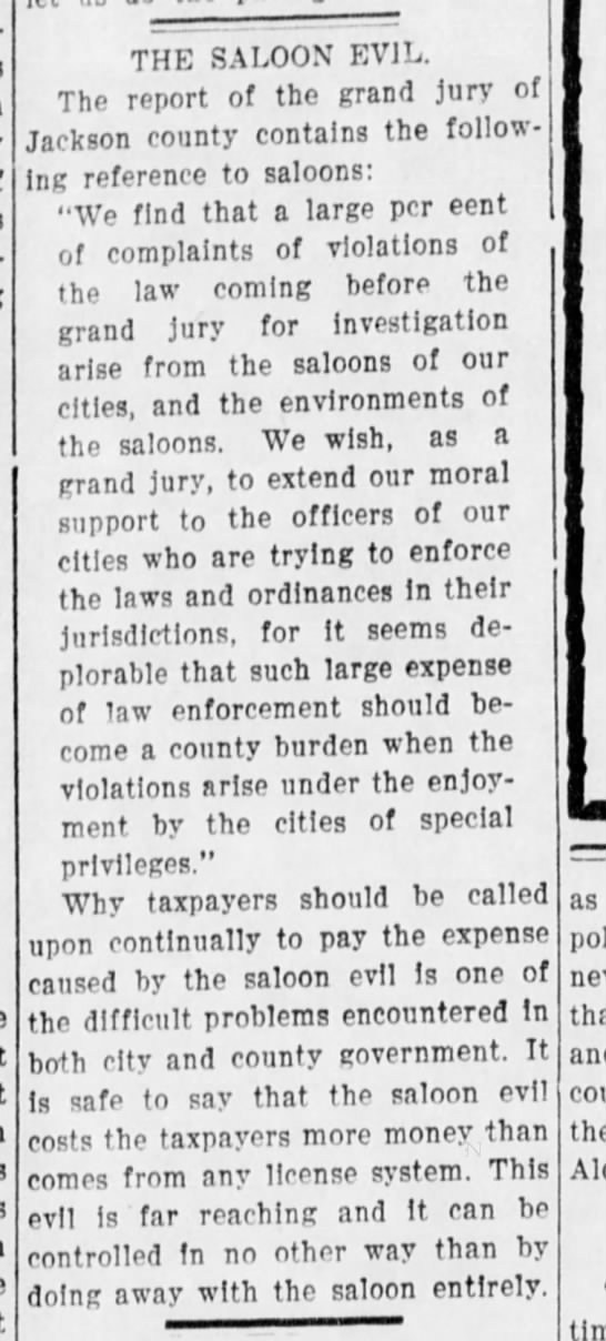 """""""The Saloon Evil,"""" 1910 - THE SALOON EVIL. The report of the grand jury..."""