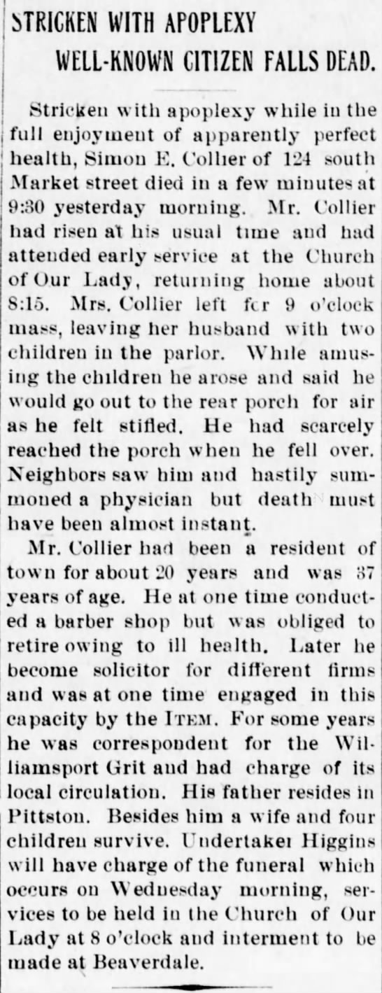 Simon Collier Obit Dec 21 1903, p. 1 - STRICKEN WITH APOPLEXY WELL-KNOWN WELL-KNOWN...