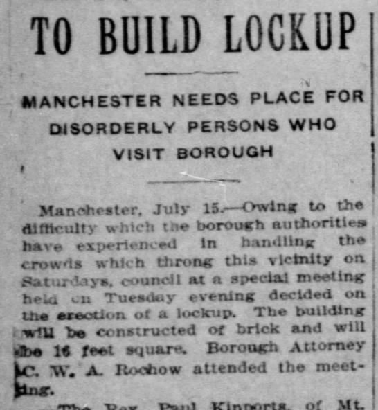 Manchester to build lockup - TO BUILD LOCKUP MANCHESTER NEEDS PLACE FOR...