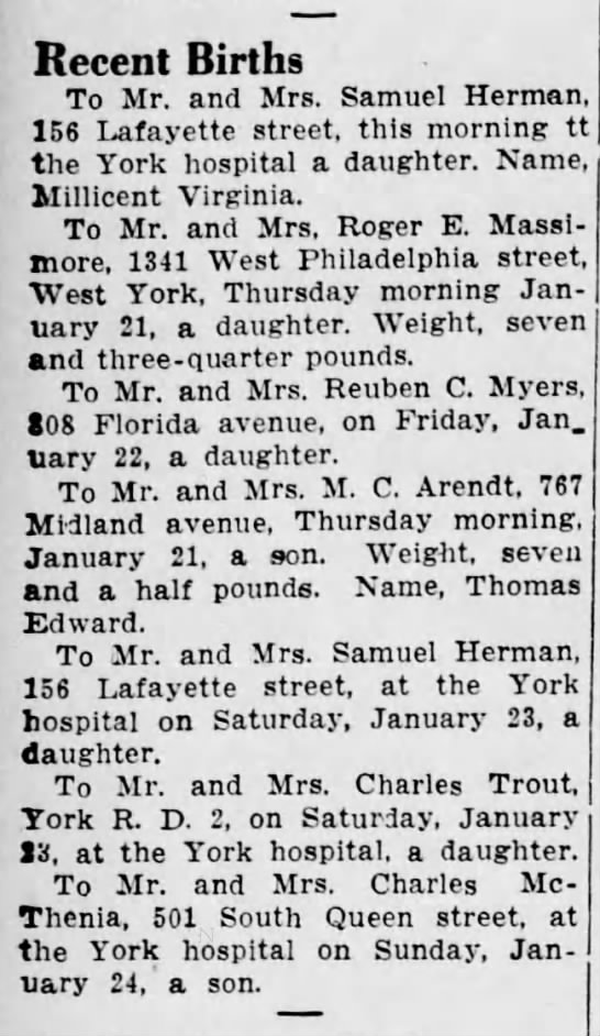 Carolyn Massimore's birth announcement, January 21, 1937 - Recent Births To Mr. and Mrs. Samuel Herman,...