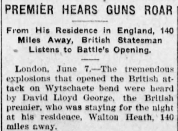 British premier David Lloyd George hears blast from London
