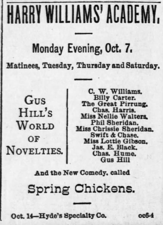 Great Pirrung Pittsburg Dispatch 6 Oct 1889 - Monday Evening, Oct. 7. Matinees, Tuesday,...