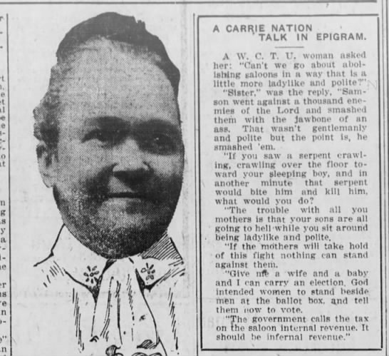"Carrie Nation - Saloon-, bar-dstroy-ing a A V Vis "" f"" "" . 1 w..."