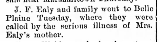 Ealy, JF_9 Oct 1899 - J. F. Eftly and family wont to Belle Plaiue...