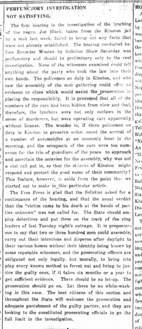 Kinston History  Negro Hanged Kinston Free Press Apr. 12, 1916 - ex-. PERFUNCTORY INVESTIGATION , . , NOT...