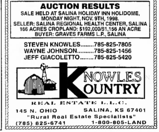 Graves farms - AUCTION RESULTS SALE HELD AT SALINA HOLIDAY INN...
