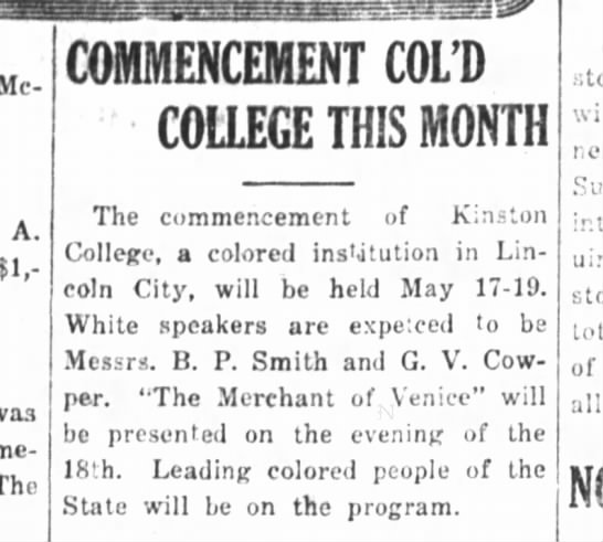 Kinston History  Kinston College Commencement Kinston Free Press May 13. 1916 - Mc-Luwharn, Mc-Luwharn, A. $1,- $1,- was The...