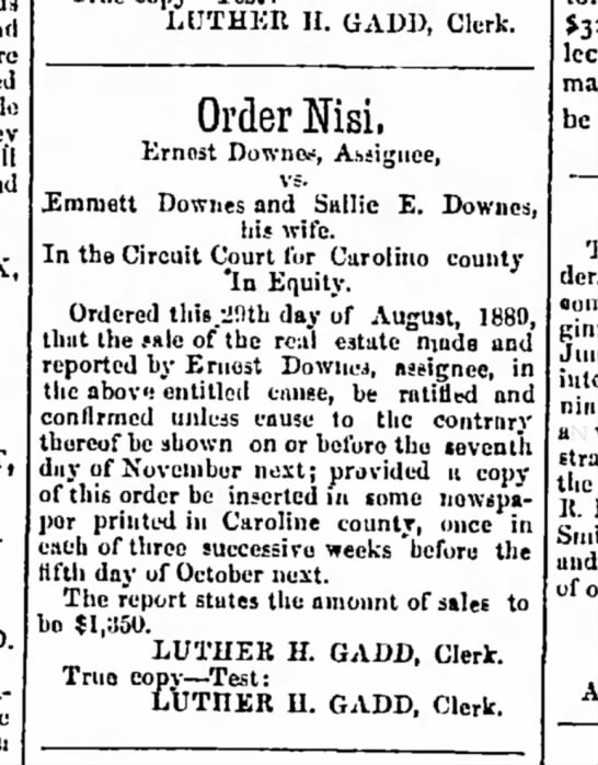 Emmett Downes and Sallie E. Downes - »ml inudo they will und LUTHER II. GADI,...