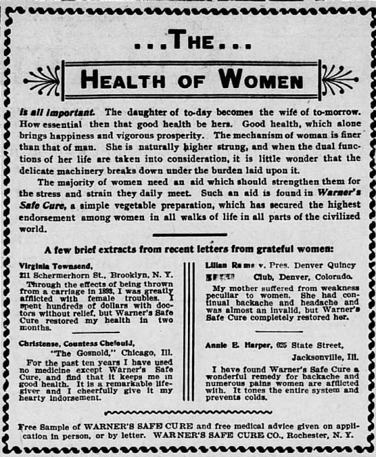 The Health of Women - The St. Louis Republic (St. Louis, MO) - 11 Apr 1901 - fe ', Health all ImportunL The daughter of...
