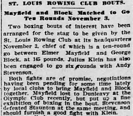 Grandfather Block article, 18 Oct 1901 SLR - ST. LOUIS ROWING CLUB BOUTS. Maylleld and Block...