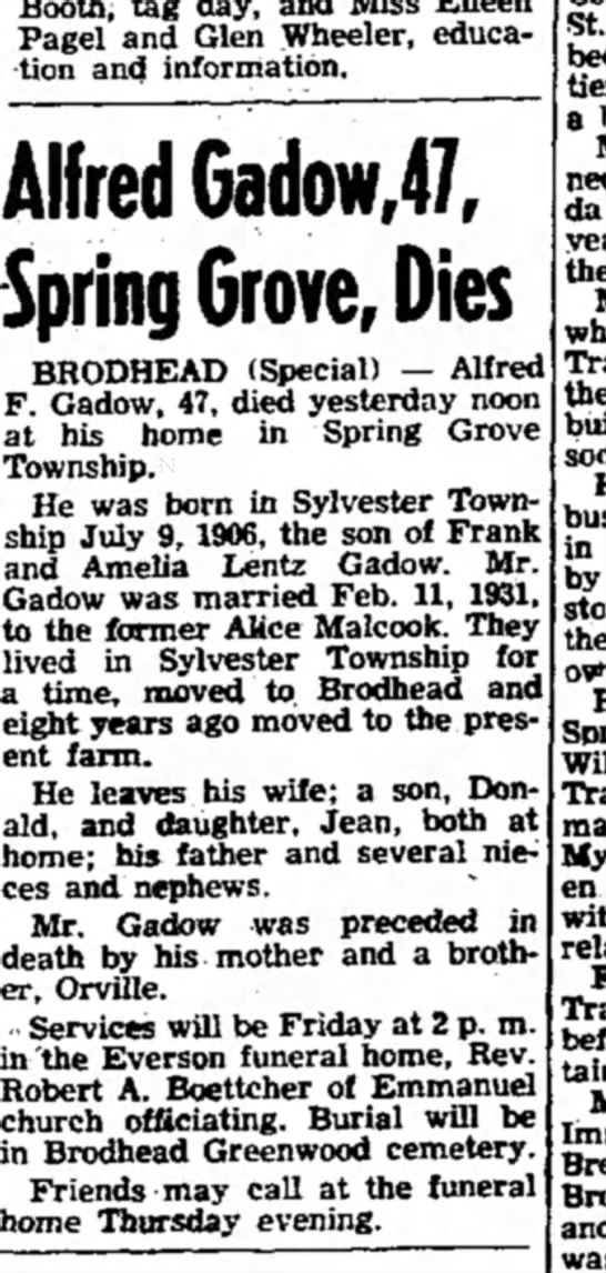 alferd gadoe, obit jan 6, 1954 - Pagel and Glen Wheeler, education education and...