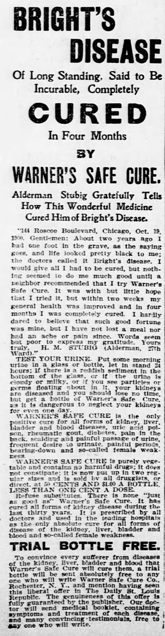 Bright's Disease Cured - The St. Louis Republic (St. Louis, MO) - 26 Mar 1902 - 3RI0HFS Of Long Standing, Said to Be Incurable,...