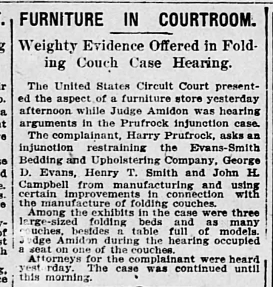 Prufrock - a FURNITURE IN COURTROOM. Weighty Evidence...