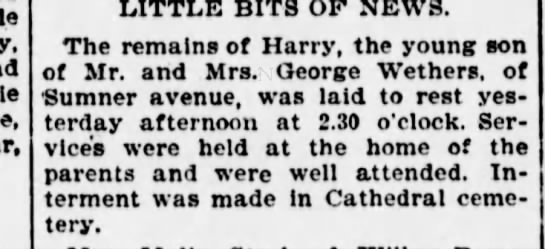 Wethers, Harry 1900 Funeral - LITTLE BITS OF NEWS. The remains of Harry, the...