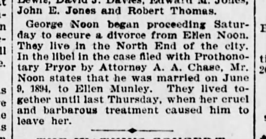 Noone, George 1895 Divorce - John E. Jones and Robert Thomas. George &oon...