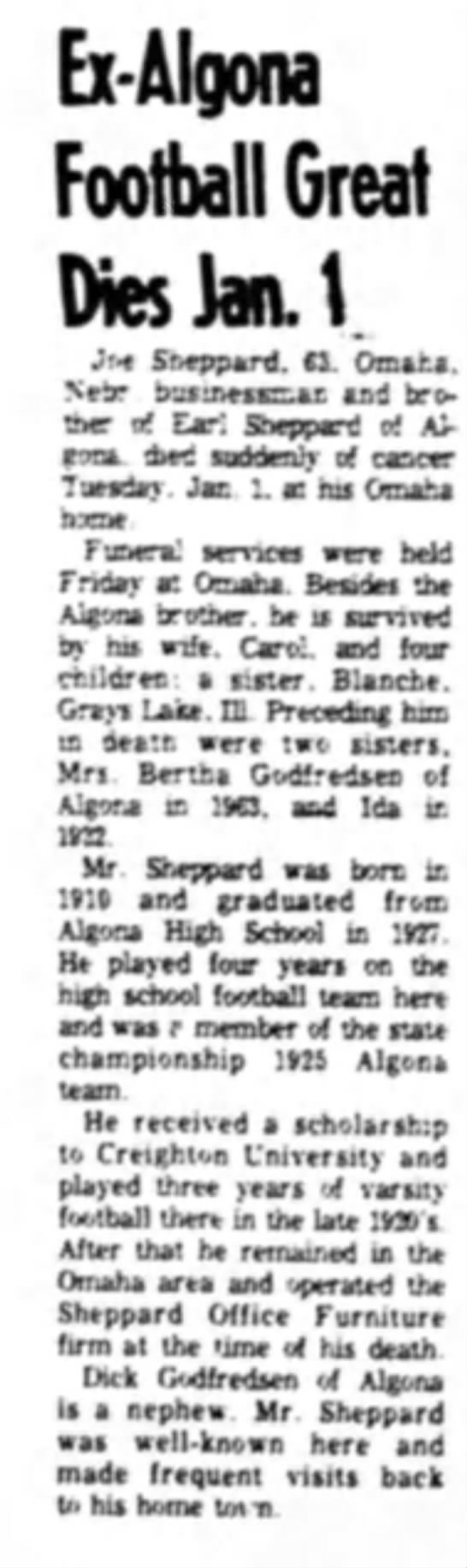 january 7, 1974 - Ex-Algona Football Great fMes Jan. \ Jf<€...