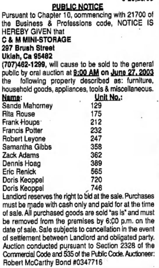 Sale of unclaimed Storage:  20 Jun 2003, Doris Keoppel - PUBLIC NOTICE Pursuant to Chapter 10,...