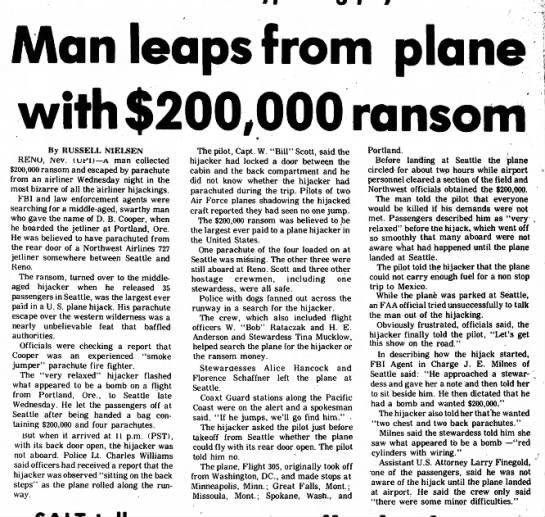 """""""Man Leaps from Plane with $200,000 Ransom"""""""