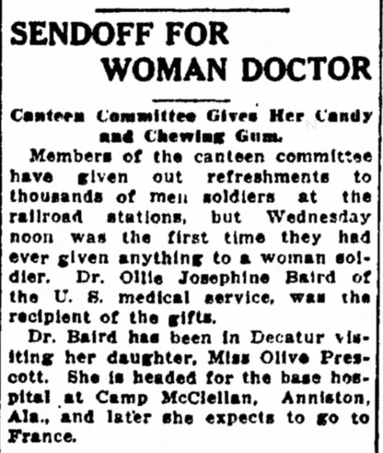 Olive Josephine Stackhouse Prescott Baird and Olive Prescott - East SENDOFF FOR WOMAN DOCTOR Cantera I...