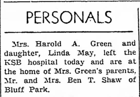 - PERSONALS Mrs. Harold A. Green and daughter,...