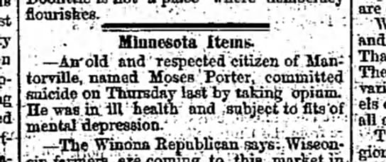 Moses Porter Opium Suicide Mantorville - flourishes. •'• Minnesota Items. ' —As'old...