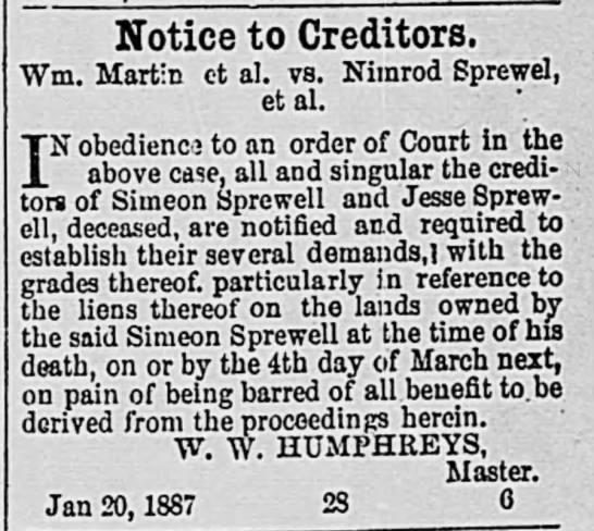 Martin vs Sprewel 1887 - Notice to Creditors. Wm. Martin et al. vs....