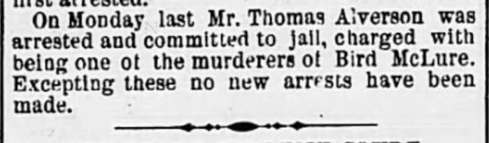 Murderer arrested 16 Dec 1871 - On Monday last Mr. Thomas A'.verson was...