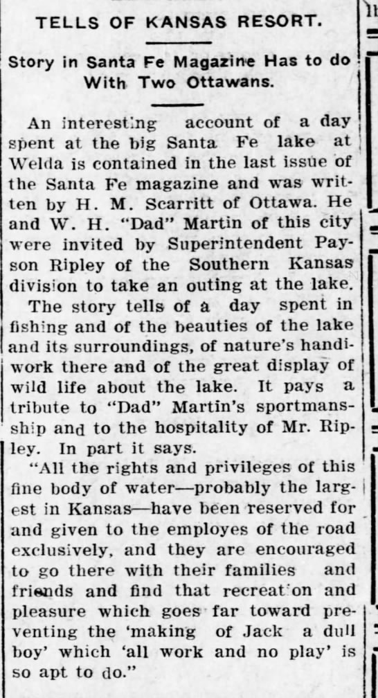 Scarritt and Martin at Santa Fe Lake in Welda - TELLS OF KANSAS RESORT. Story in Santa Fe...