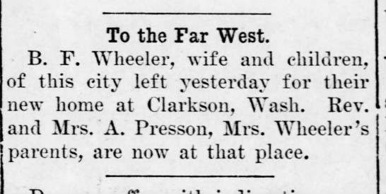 move to washington - To the Far West. B. F. Wheeler, wife and...