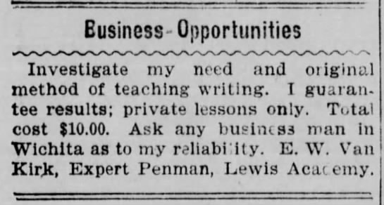 E W Van Kirk 1900 ad - Eusiness-Opportunities Investigate my need and...