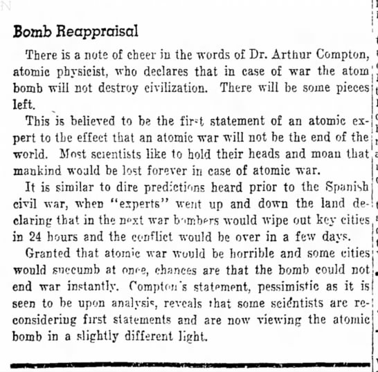 12/31/47 You sillies: The bomb won't wipe out civilization - Bomb Reappraisal There is a note of cheer in...