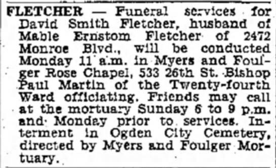 Funeral announcement for David Smith Fletcher - FLETCHER — Funeral services fo David Smith...