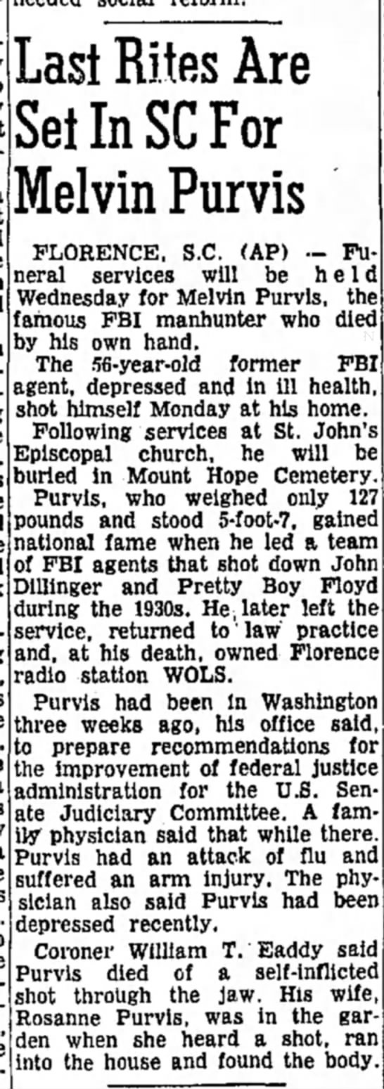 The Daily Republic, Mitchell, South Dakota, Tuesday, March 1, 1960 - Last Rites Are Set In SC For Melvin Purvis...