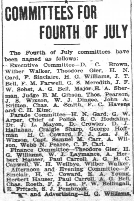 19060413 Capt Samuel M Carr on 4th July 'Parade Committee' - COMMITTEES FOR FOURTH OF JULY The Fourth of...