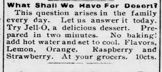 Jell-o ad, 1900