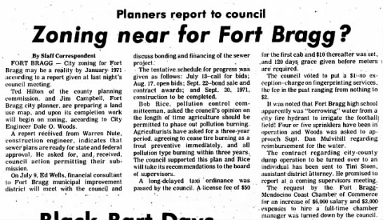 23 June 1970 Ukiah Daily Journal /John Warren Nute - Planners report to council Zoning near for Fort...
