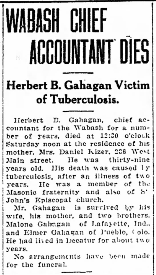 Herbert Gahagan Obit 1918 - for the on n k s , Herbert B. Gahagan of...