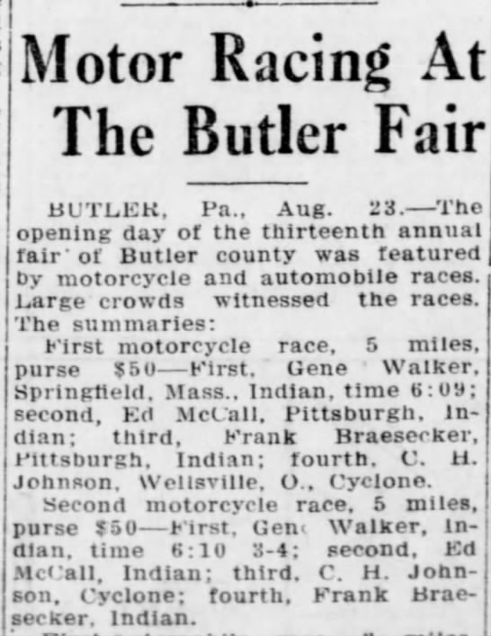 New Castle, PA. Herald 8-23-1916 - Motor Racing At The Butler Fair BUTLER, Pa.,...