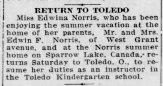 Sparrow Lake News - fashion-' RETURN TO TOLEDO Miss Edwina Norris,...