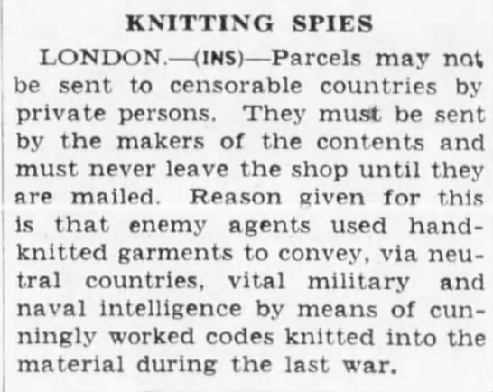 Knitting Spies - KNITTING SPIES LONDON. (INS) Parcels may not be...