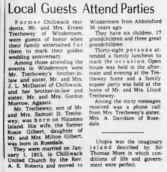 Golden Wedding - Local Guests Attend Parties Former Chilliwack...