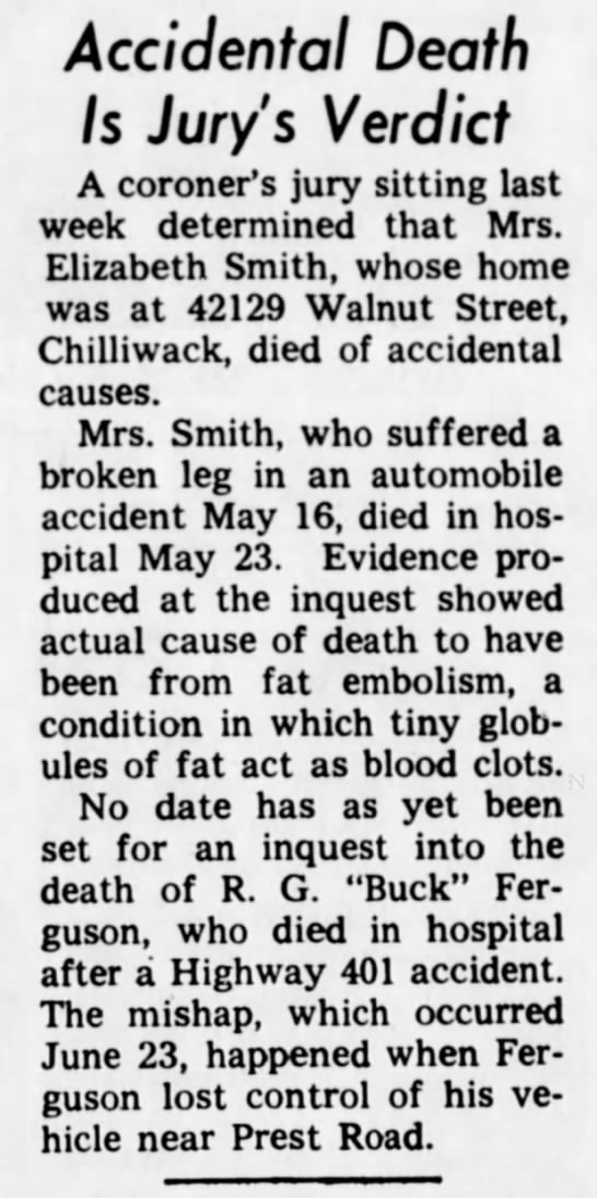 Elizabeth May Smith - coroner inquest - Accidental Death Is Jury's Verdict A coroner's...